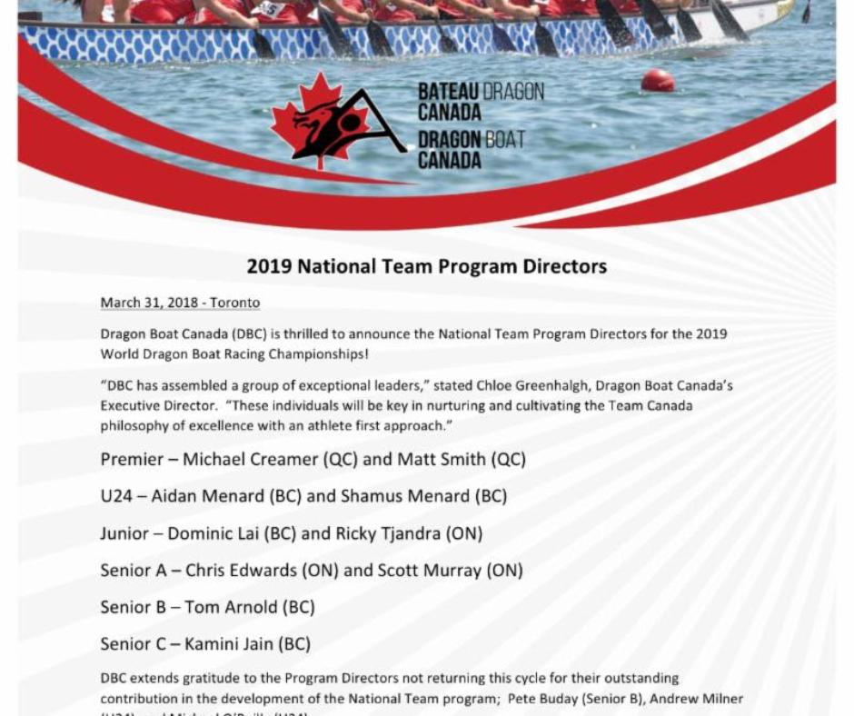 2019 National Team Program Directors